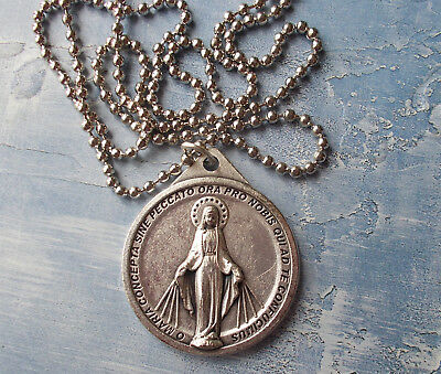 """Large, Round Miraculous Medal~ITALY~1 1/4""""~FREE SHIP~24"""" stainless steel chain"""