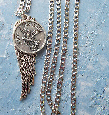 St. Saint MICHAEL Archangel Medal NECKLACE Pendant Angel Wing Protection