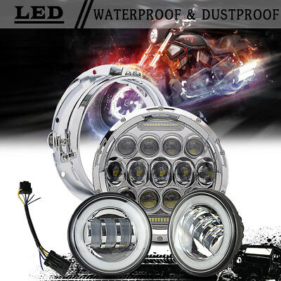 """Chrome 7"""" LED Daymaker Headlight w/ Auxiliary Passing Lamp for Harley"""