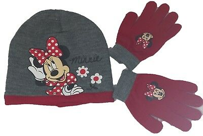 Disney Girl's Minnie Mouse Winter Beanie and Glove Set (One Size)