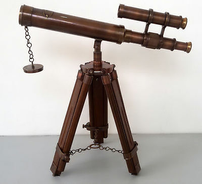 Antique Nautical 15'' Brass Telescope Double Barrel With Floor Tripod Stand