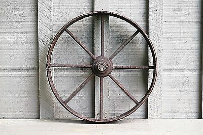 Old Vintage Antique Primitive Steel Spoke Wagon Cart Implement Wheel Farm Decr 5