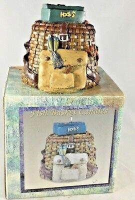 Candle With Fish Hooks Fishing Basket Detailed New Boxed Vintage