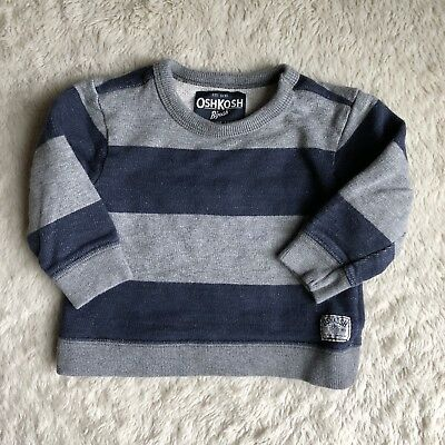 Oshkosh Bgosh 12 Months Boy Pullover Sweatshirt Rugby Stripe Nautical Gray Navy