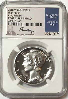 2018 W $25 Palladium NGC PF69 UC,HR Early Release signed by Edmund C. Moy