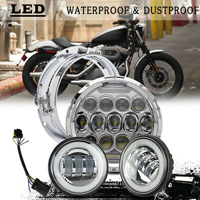 """Chrome 7"""" LED Daymaker Headlight w/ Auxiliary Passing Light for Harley"""