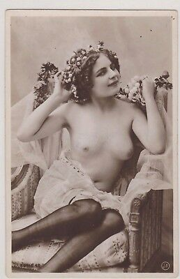 Nude French early FERNANDE RPPC Real pose  Beauty Jean Agélou c.1910s