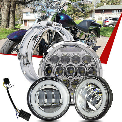 """7"""" Chrome LED Projector Daymaker Headlight + 2 Passing Lights For Harley Touring"""