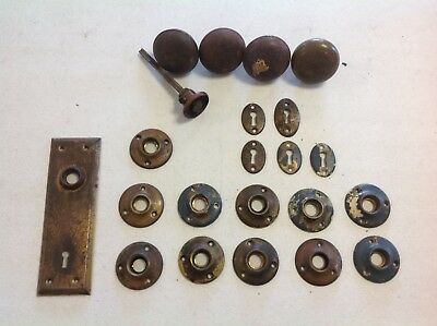 Vintage Antique Old Door Hardware Lot Knobs Locks Plates Architectural Brass