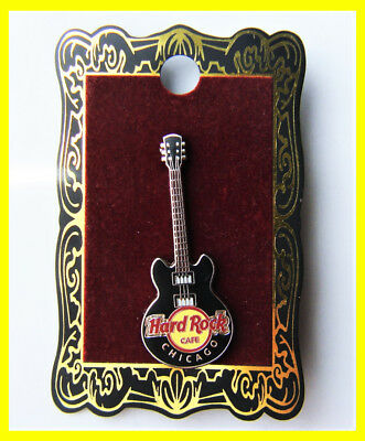 Hard Rock Cafe Chicago Pin Core Guitar - Black Gibson 3-string Variation 2009