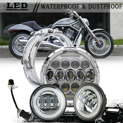 """Chrome 7"""" LED Harley Daymaker Style Headlight w/ Auxiliary Passing Light"""