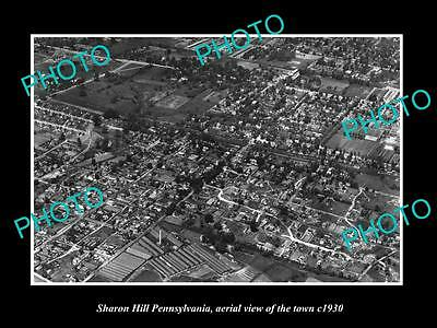 OLD LARGE HISTORIC PHOTO OF SHARON HILL PENNSYLVANIA, AERIAL VIEW OF CITY c1930