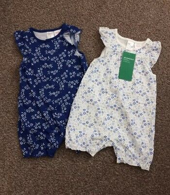 BNWT 2 Pack Rompers Short All In Ones BABY GIRL 2-4 Months Floral Flowers H&M