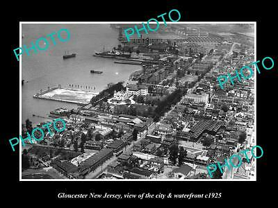 OLD LARGE HISTORIC PHOTO OF GLOUCESTER NEW JERSEY, AERIAL VIEW OF CITY c1925