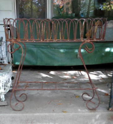Vintage WEATHERED WROUGHT IRON 2-Tier CURLY&SCROLLY PLANT STAND Old South Garden