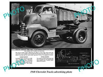 Old Large Historic Photo Of 1948 Chevrolet Truck Advertisment, Chassis & Cab 2