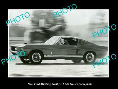 Old Large Historic Photo Of 1967 Ford Mustang Shelby Gt 500 Launch Press Photo