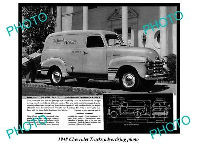 Old Large Historic Photo Of 1948 Chevrolet Truck Advertisment, De Luxe Panel 1