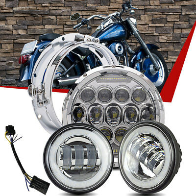 """7"""" Chrome LED Projector Daymaker Headlight + 2 Passing Lamp Fit Harley Touring"""