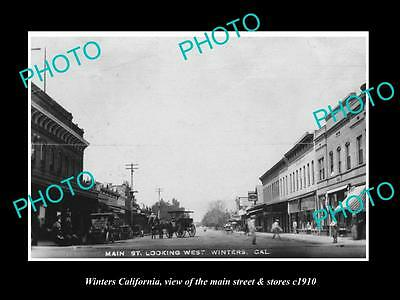 OLD LARGE HISTORIC PHOTO OF WINTERS CALIFORNIA, THE MAIN STREET & STORES c1910