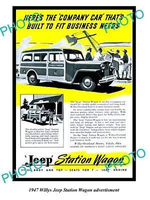Old Large Historic Photo Of 1947 Willys Jeep Advertisment, Station Wagon 2