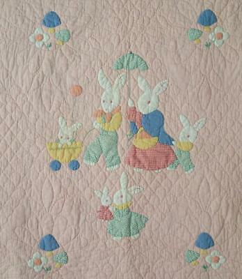 Adorable Vintage Bunny Rabbit Applique Baby QUILT