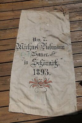 Amazing Antique 1893 German Canvas Wheat Storage Bag Sack