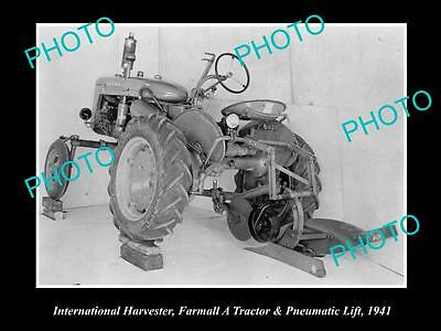 Old Historic Photo Of International Harvester & Farmall A Tractor 1941, Lift