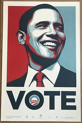 VOTE - Shepard Fairey Art Print Obama Limited Poster #d/5000 Obey Giant - Banksy