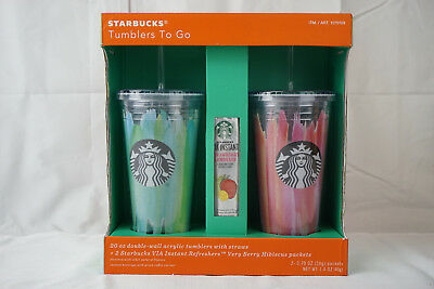 Starbucks Tumblers To Go 20 oz. Double-Wal Acrylic Cold Cup 2 Pack Gift Set New