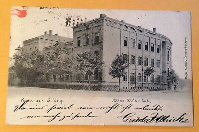 Great Views C1900 Postcard Gruss Elbing Poland 2 Tied Stamps   370