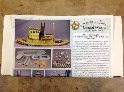 Khs - Ho Scale Frenchman River Model Works Kit #212 92' Steam Railroad Tug Boat