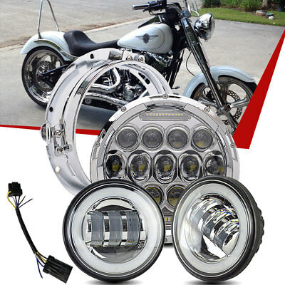 """7"""" Chrome LED Daymaker Projector Headlight + 2 Passing Lamp Fit Harley Touring"""
