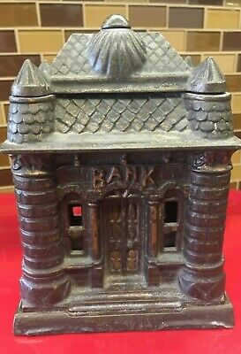 Antique Cast Iron Still Bank Dated 1895 Bank Building Great Condition  Nice Bank