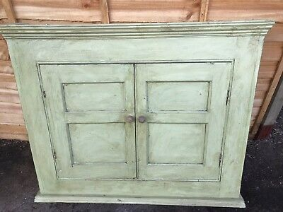 Vintage Shabby Chic Antique Painted Wall Display Cupboard