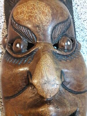 Heavy Hand Carved Asian Wooden Wall Mask 530mm (20.5 Inch) Long
