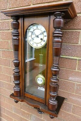 Antique Walnut Vienna type wall clock 8 day Good time keeper