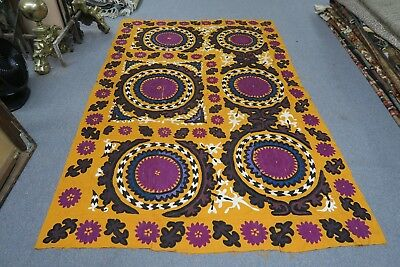 "Antique Vintage Uzbek Yellow Silk Embroidery Suzani 61"" X 92"" Panel Wall Decor"