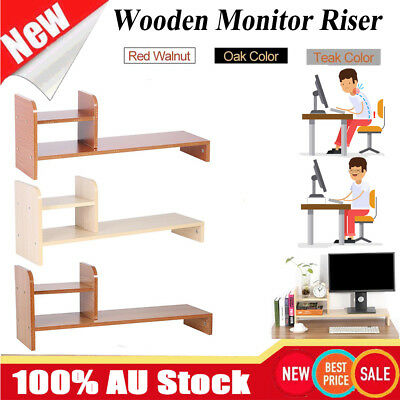 Computer Screen Desktop Stand Wooden Monitor Laptop TV LCD Riser Pockets Holder