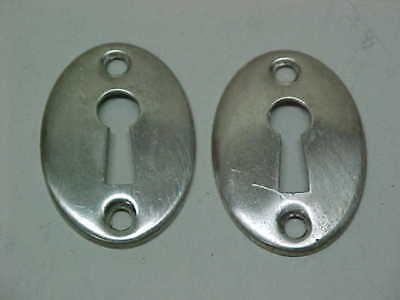 Vintage Old Pair Of Nickel On Brass Oval Escutcheons Key Hole Covers
