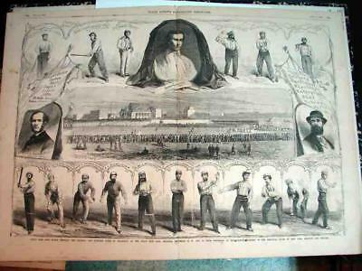 1865 Rare Vintage Baseball Game And Players Illustrated Page.  Game Between The