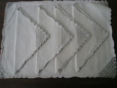Set of 4 Vintage White Linen Placemats and Napkins Openwork Unused No Tag