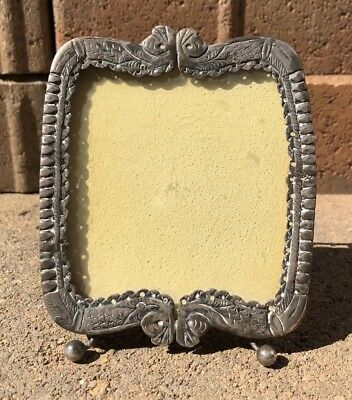 Antique Early Victorian Sterling Silver Miniature Etched Portrait Frame