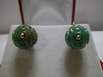 Antique Carved Jadeite Jade Qing Dynasty Ball Bead, 14Kt White Gold Earrings