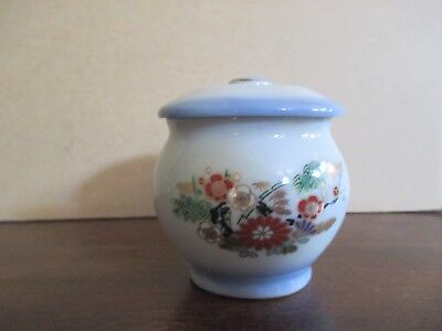 Miniature White and Pale Blue Ginger Jar with Floral Design Curio Cabinet Size