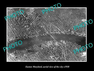 OLD LARGE HISTORIC PHOTO OF EASTON MARYLAND, AERIAL VIEW OF THE CITY c1930