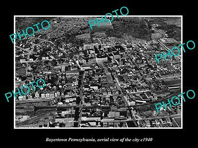 Old Large Historic Photo Of Boyertown Pennsylvania, Aerial View Of The City 1940