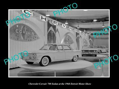 Old Large Historic Photo Of The Chevrolet Corvair 1960 Detroit Motorshow Display