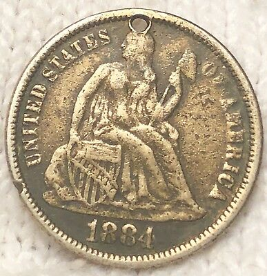 "1884 Seated Liberty Silver Dime, ""LOVE TOKEN"". Pretty Coin!! ~Mother~"