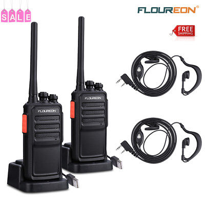 2PCS Walkie Talkie UHF 400-480MHz Two Way Radio 16 Channel Transceiver +Earphone